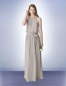 NWT-Bill-Levkoff-1267-Desert-Grey-chiffon-Size-12-full-length-long-bridesmaid