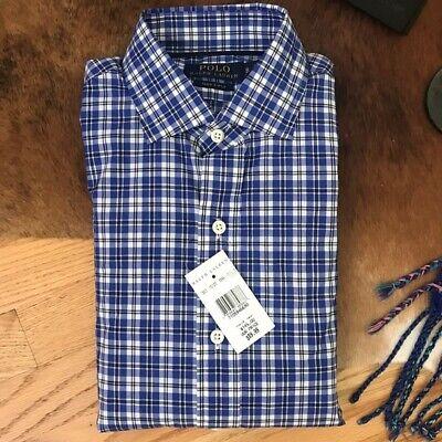 Ralph Lauren Blue Plaid 140/'s 2 Ply Dress Shirt NWT $145