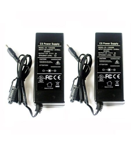 CCTV DVR Camera Led UL Listed 2Pcs AC Adapter DC 12V5A Power Supply Switching F