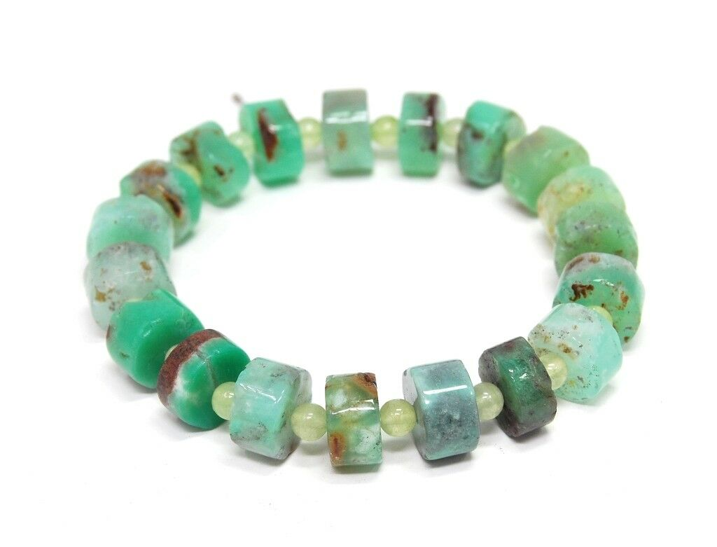 Bracelet Made of Gemstones Chrysoprase Wheel and Spacer Beads in Ball Shape