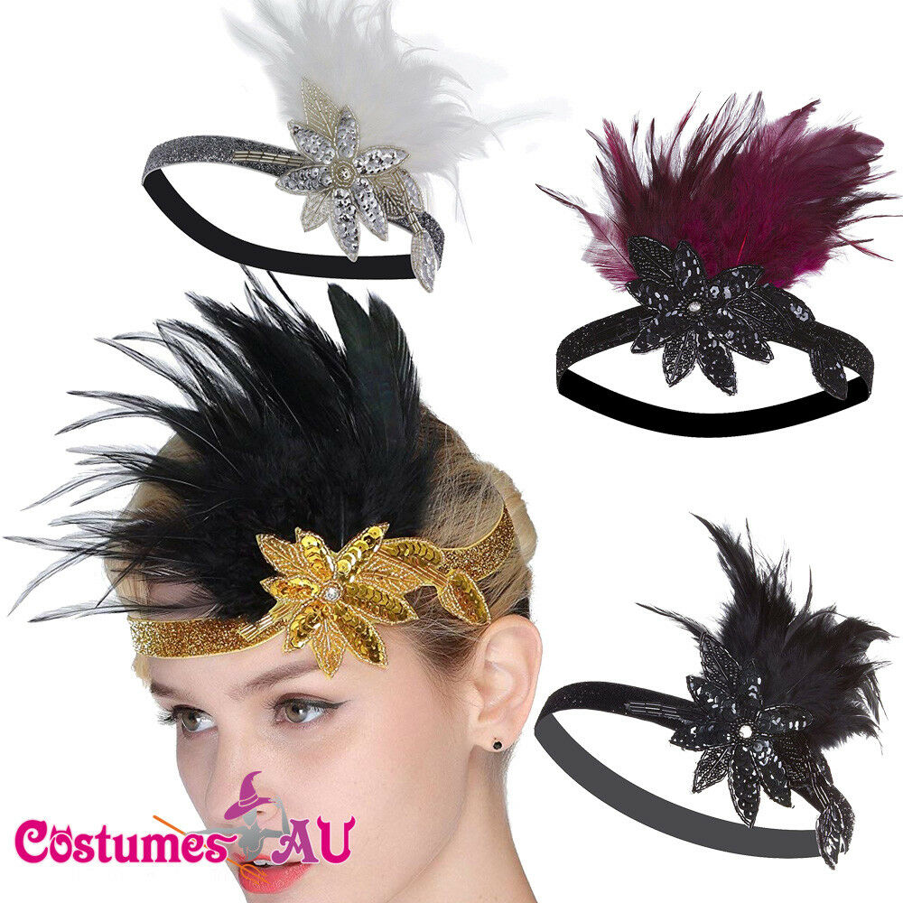 20s Headband Black Red Gold White Feather Bridal 1920s Gatsby Flapper Headpiece