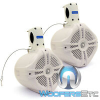 (2)power Acoustik Mwt-65 6.5 500w Marine Boat Waketower Tweeters Speakers White on Sale