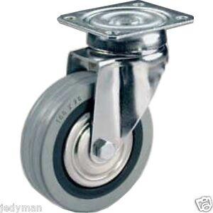 50/mm non Marquage Gris en caoutchouc rigide Roulettes avec freins/?/plaque sup/érieure Fixation/?/Heavy Duty Roulettes Roues par Bulldog Roulettes/?/Max 100/kg par lot