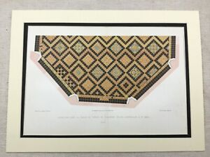 1857 Antique Chromolithograph Print St Omer Cathedral France Mosaic Floor Tiles