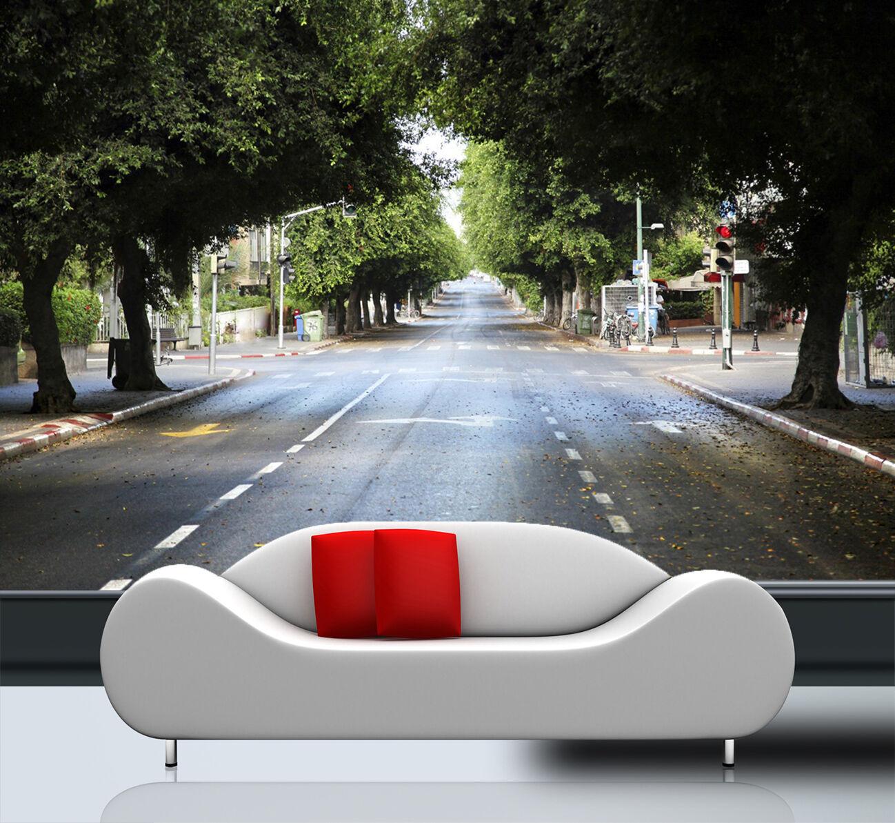 3D Route Arbres 028 Photo Papier Peint en Autocollant Autocollant en Murale Plafond Chambre Art ba7ca3