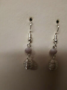 hand made pink agate earrings,drop/dangle,hook,silver plated.