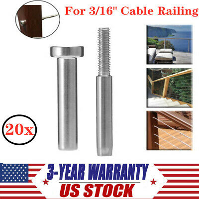 3//16 Cable Railing Stainless Steel Invisible Receiver /& Swage Stud End Fitting