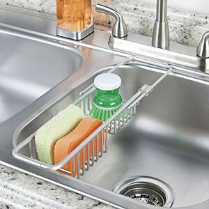 Image Is Loading Aluminum Over Sink Caddy Kitchen Sponge Scrubber Holder
