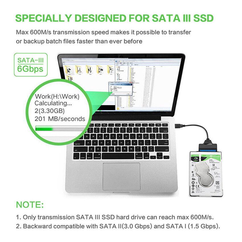 "USB 3.0 To 2.5"" SATA III Hard Drive Adapter Cable-SATA To USB Converter-Black 6"