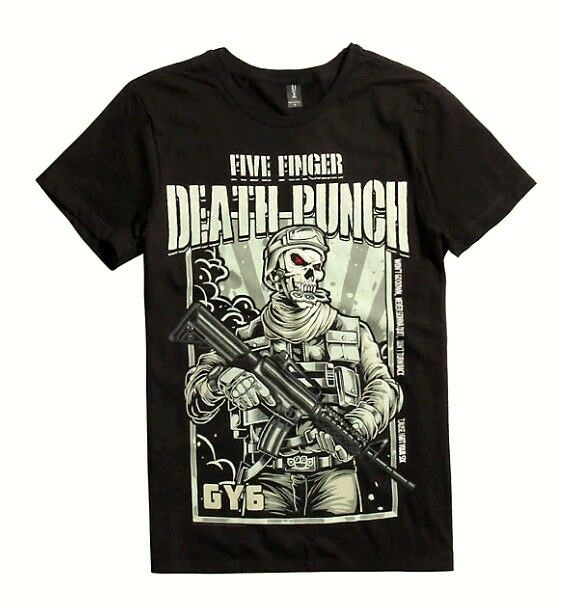 Five Finger Death Punch T Shirt Got Your Six Zombie Kill Band Logo Officiel