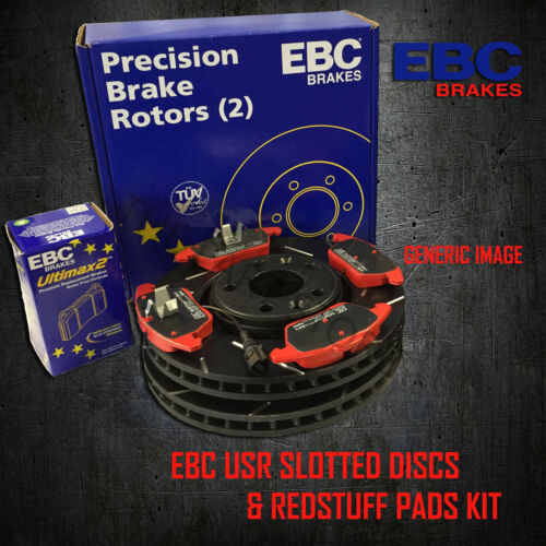 NEW EBC 280mm REAR USR SLOTTED BRAKE DISCS AND REDSTUFF PADS KIT KIT11284