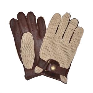 Brown Goldtop 100/% Deerskin Leather Classic Crochet String Back Driving Gloves