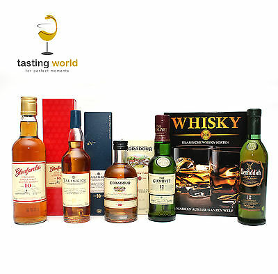 Großes WHISKY TASTING SET Probierset mit 5 Single Malt Whiskys 1,15l + Fachbuch