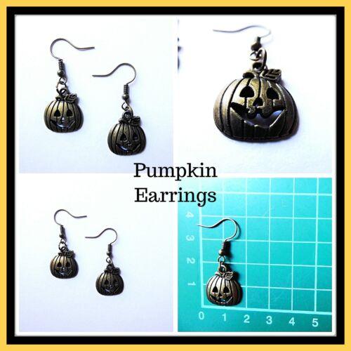 Bronze Pumpkin Earrings,Drop,Pierced,Lovely,Unisex,Gift Idea,Earrings,Halloween