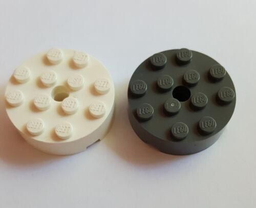 LEGO 87081 pietra circa 4x4 foro tondo nuovo grigio scuro o bianco selezione 23
