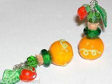 1 Glass Pumpkin fruit shape perfume diffuser cork BOTTLE pendant vial Necklace