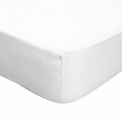 Single Double King Size Egyptian Percale Fitted Bed Sheet White Poly Cotton