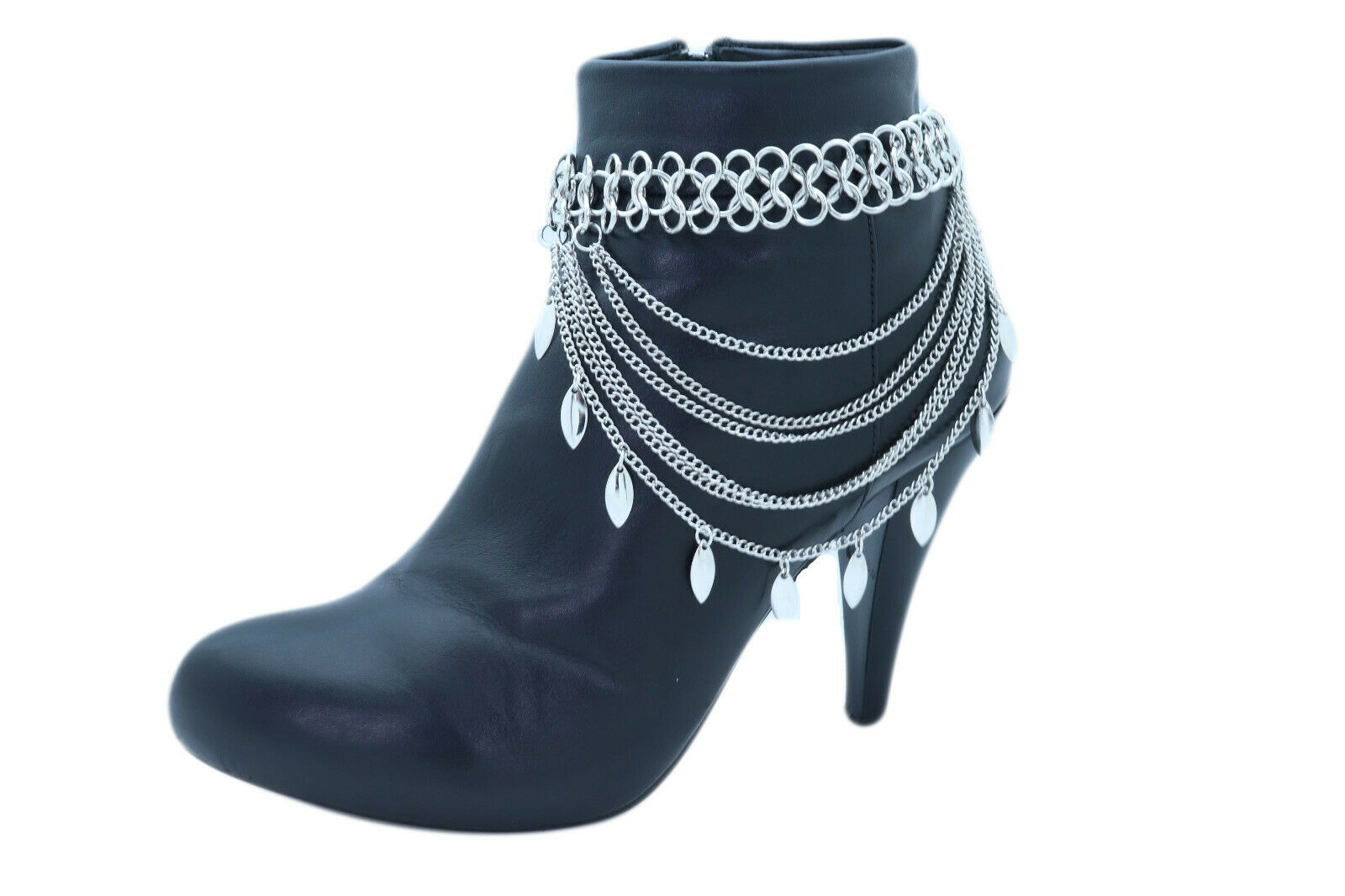 New Women Silver Metal Chain Boot Bracelet Anklet Shoe Leaf Charm Bridal Jewelry