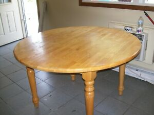 Kitchen Table Wood Round 48 Inch With Leaf Insert Used Ebay