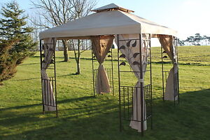 2-5M-Square-Garden-Gazebo-Strong-Steel-Frame-Polyester-Beige-Cover-amp-Curtains