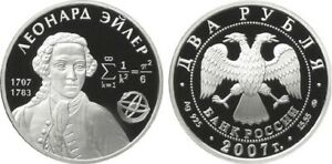 Russia Silver Coin 2 Rubles 2007 Tsiolkovsky