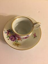 MEISSEN  CUP AND SAUCER  WITH SWAN HANDLE