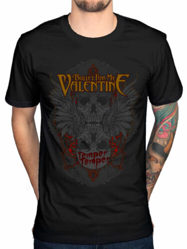 Oficial Bullet For My Valentine Winged Skull Camiseta Para Hombre Banda Merchandising axewound