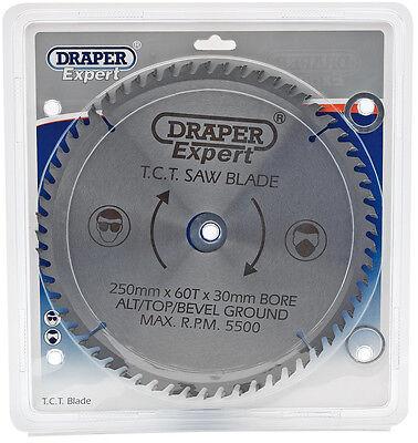 Draper 09488 TCT Circular Saw Blade 250 X 30mm X 60T fits Mitre and Table Saws