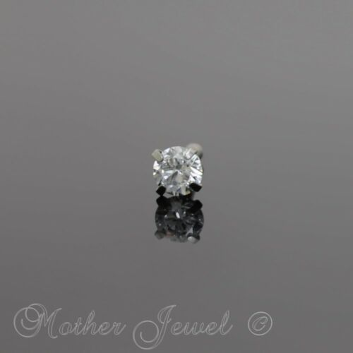 18G SILVER SURGICAL STEEL 3MM ROUND SIMULATED DIAMOND UNI NOSE PIERCING STUD