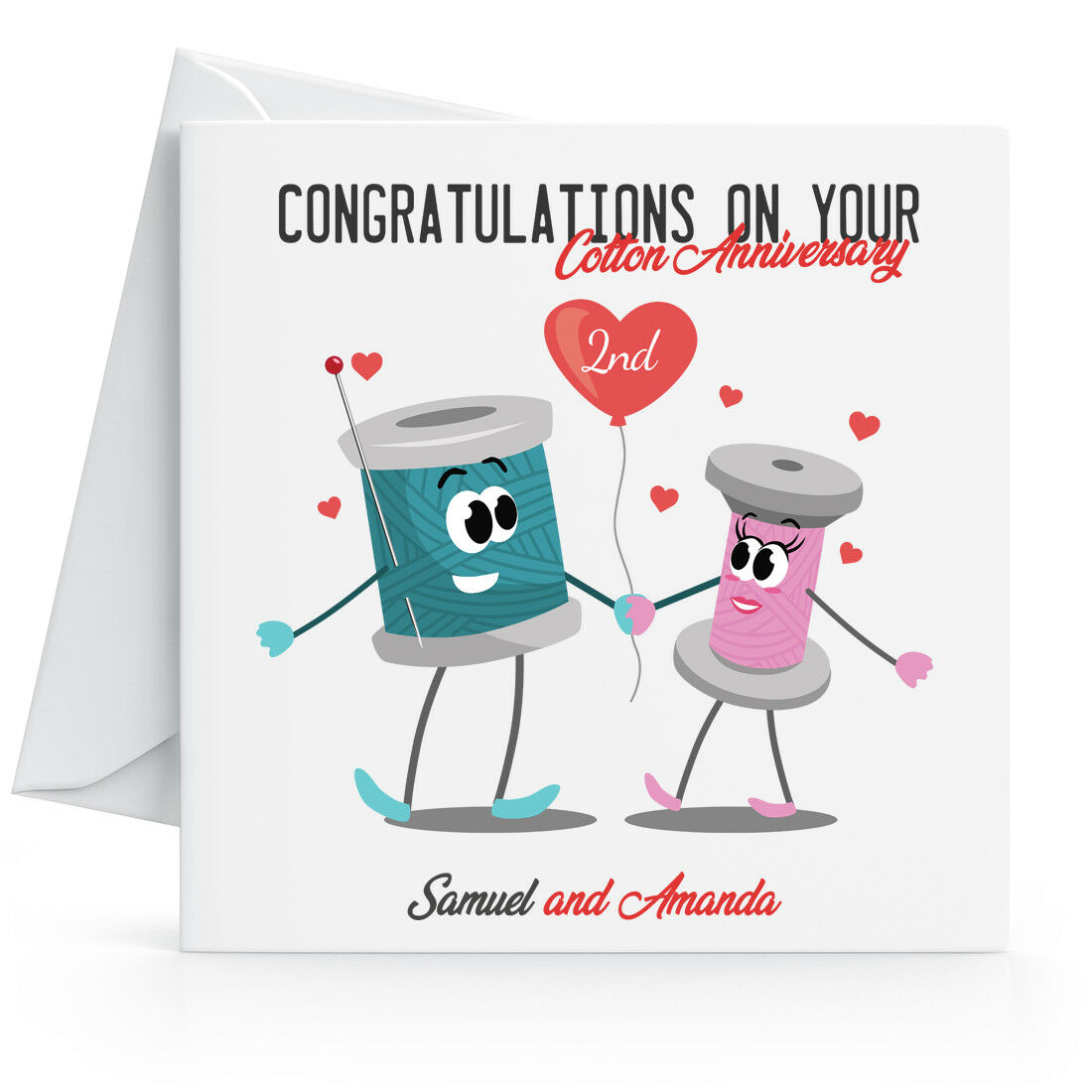 Personalised 4nd Cotton Wedding Anniversary Card - Wife, Husband