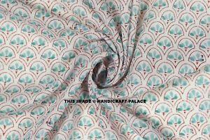 Fabric-Hand-Block-Print-Craft-Dressmaking-Material-5-Yard-Indian-100-Cotton