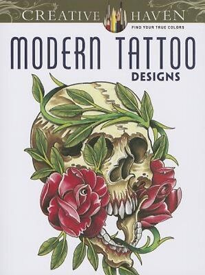 ADULT COLORING BOOK ~ MODERN TATTOO DESIGNS ~ PERFORATED PAGES 4 FRAMING