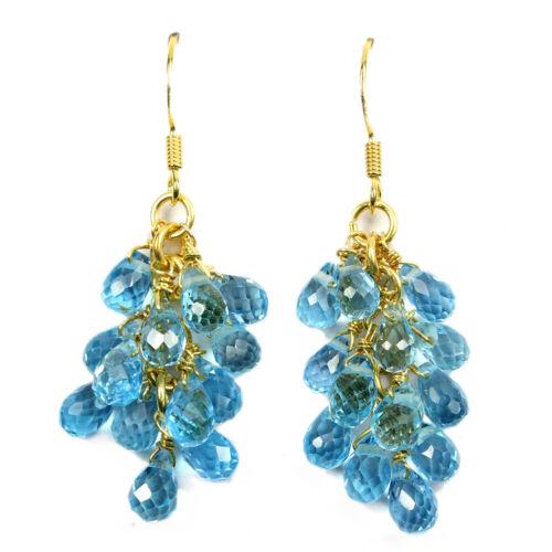 Véritable AAA Swiss Blue Topaz brignolette Sterling 925 Silver Earring 44X11 mm
