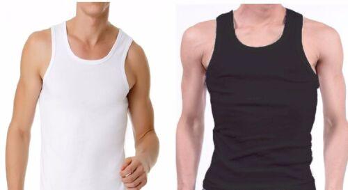 MENS BLACK WHITE COTTON SINGLET TOP CHESTY TOP TSHIRT SHIRT UNDERWEAR MEN/'S