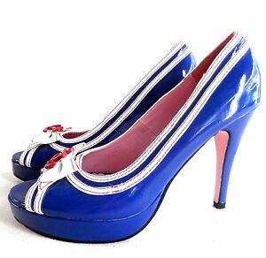 Image Is Loading Leg Avenue Sz 6 Stiletto Pumps Blue White