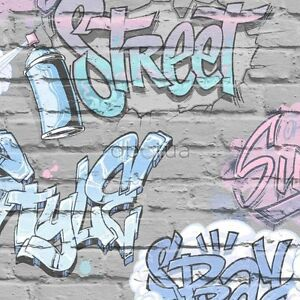 Graffiti Wallpaper Pink Grey Lilac Brick Wall Quality