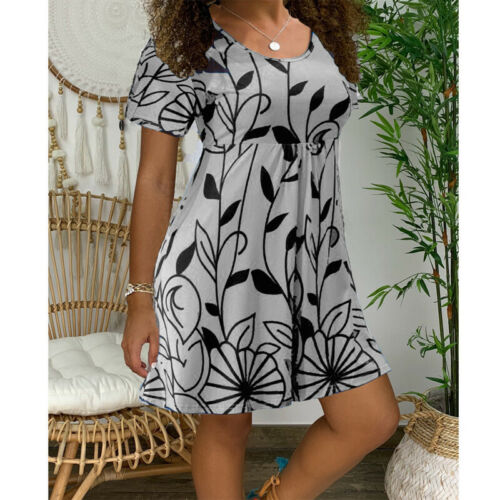 Women Short Sleeve Loose Dresses Summer Printed Round Neck Casual Mini Dress