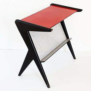 Doux Table D'appoint Porte-revues Formica 1950 Vintage Pieds Compas 50s 50's