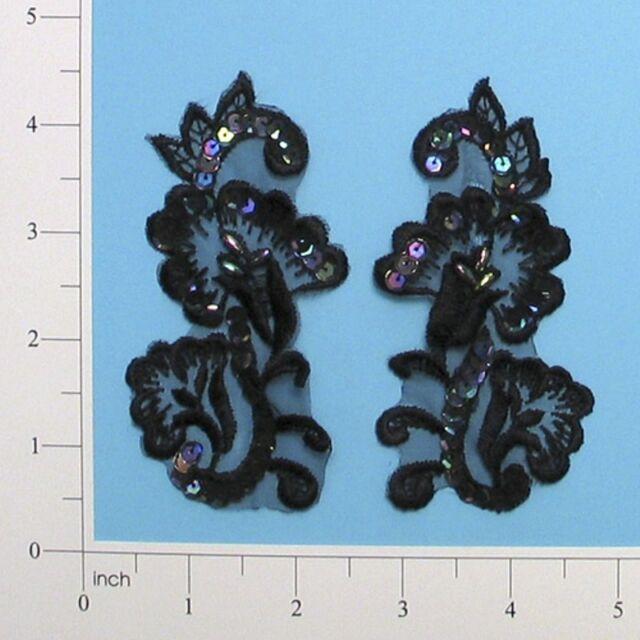 """E2702 Black Venise Lace Sequin Applique Pair 4"""" ~Adorable~Set~Floral"""