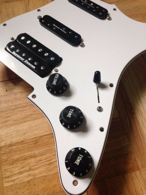 Stratocaster Pickguard Seymour Duncan TB-4 JB EVERYTHING AXE White/Black CTS