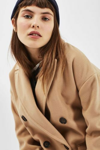 Topshop Camel Military Double Breasted Winter Warm Long Mac Trench Coat 6 to 16