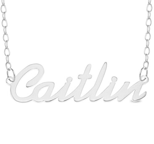 925 Sterling Silver CAITLIN Name Necklace Womens Girls Pendant Gift Ready Stock
