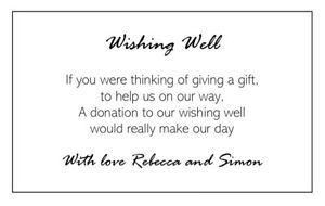 10 X Personalised White Wishing Well Cards Wedding