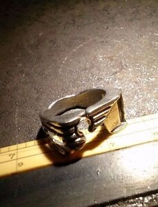 Steampunk Distressed Mens Ring , Size 9, Art Deco 1920s-40s Re-casted!