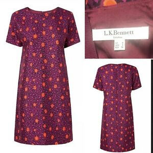 LK-BENNETT-Size-8-Silk-Blend-Animal-Print-Dress-Lined-Tunic-Midi-Short-Spring