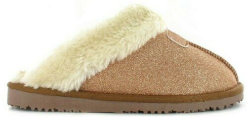 Ladies Ella Slippers Sparkle Memory Foam Faux Fur Lined Outdoor Sole Soft Mules