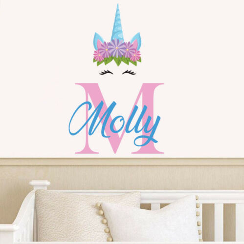 Personalised Name Unicorn Wall Sticker Initial Decal Custom Nursery Art Kid UI03