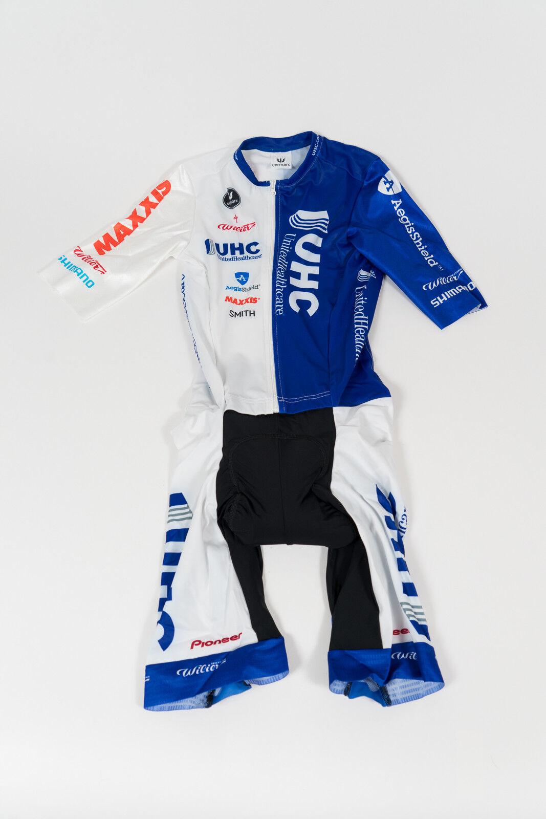 Nuevo Para hombres 2015 Vermarc UHC Pro embolsada traje para ciclismo, ciclismo manga corta Azul blancoo, Talla M