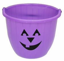 Pumpkin Face Trick Or Treat Jumbo Plastic Halloween  Bucket With Handle ~ Purple