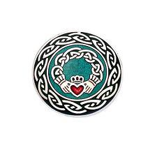 Keltische Claddagh Knotenmuster Brosche Emaille Handgefertigt Versilbert - Neu